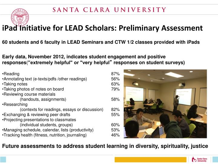 iPad Initiative for LEAD Scholars: Preliminary Assessment