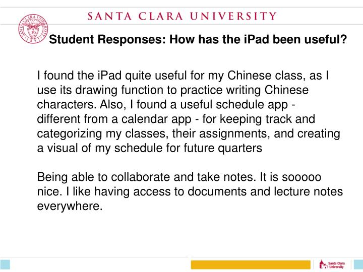 Student Responses: How has the iPad been useful?