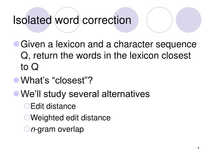 Isolated word correction