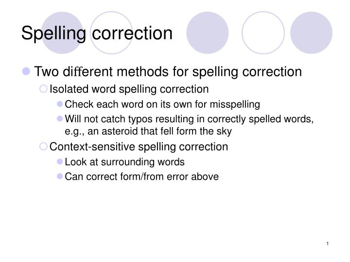 Spelling correction