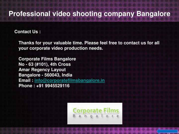 Professional video shooting companyBangalore