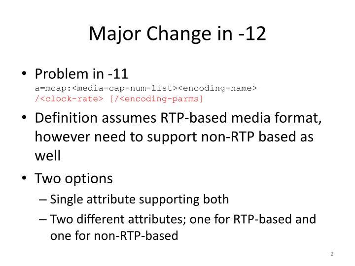 Major change in 12