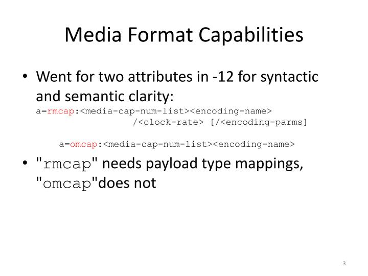 Media format capabilities