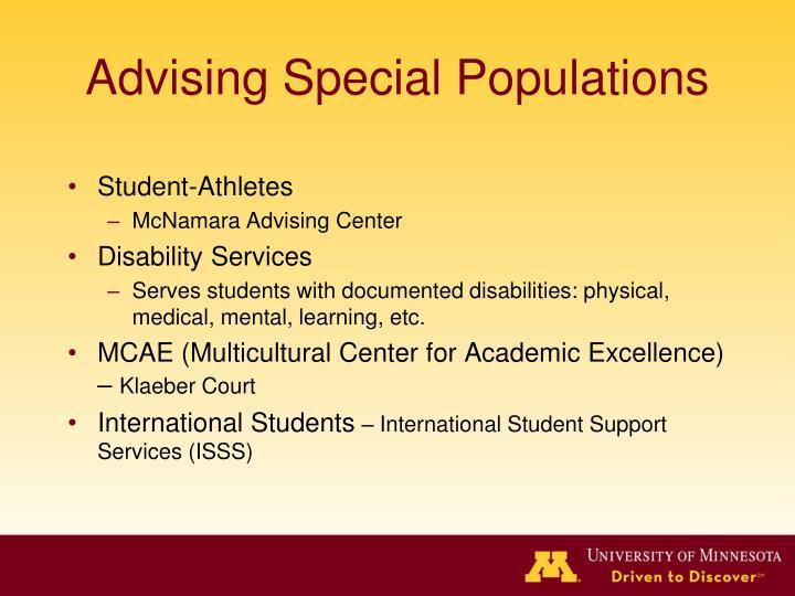 Advising Special Populations