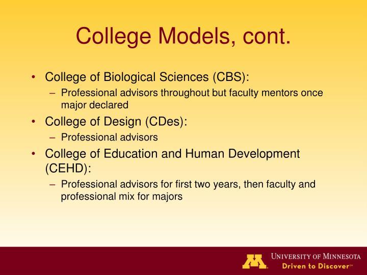 College Models, cont.
