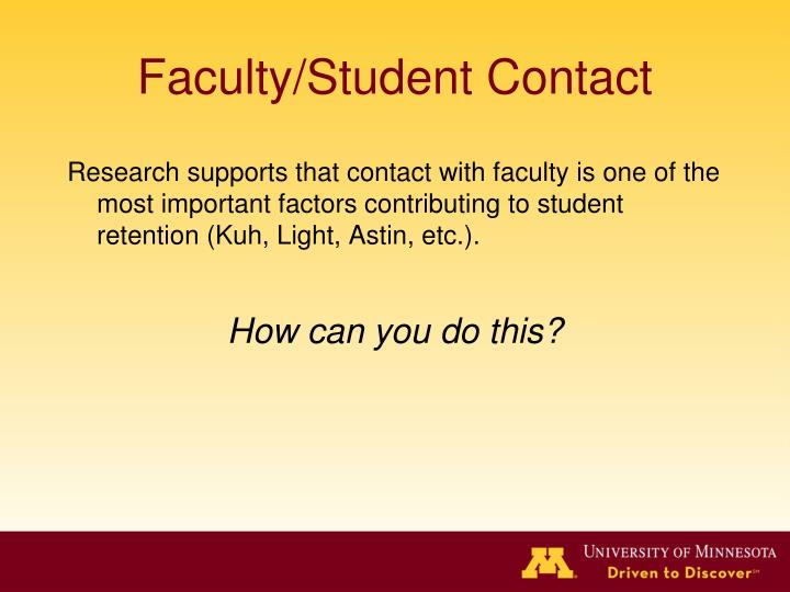 Faculty/Student Contact