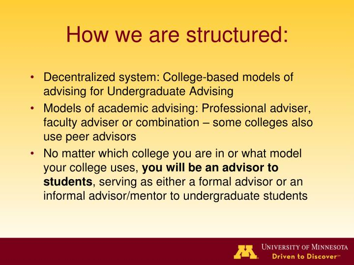How we are structured: