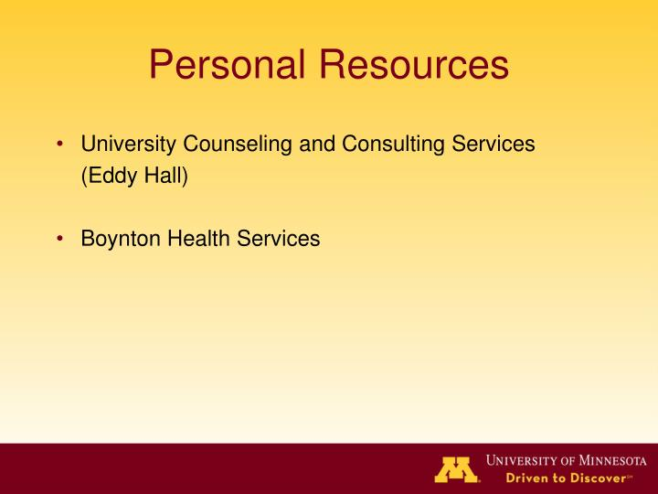 Personal Resources