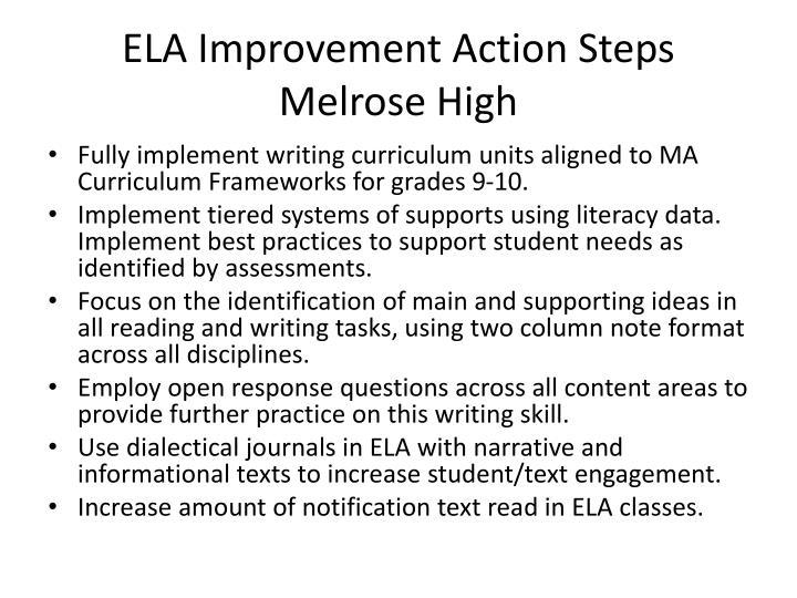 ELA Improvement Action Steps Melrose High
