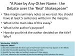 a rose by any other name the debate over the real shakespeare
