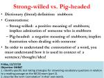 strong willed vs pig headed