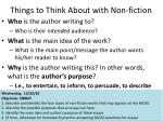things to think about with non fiction