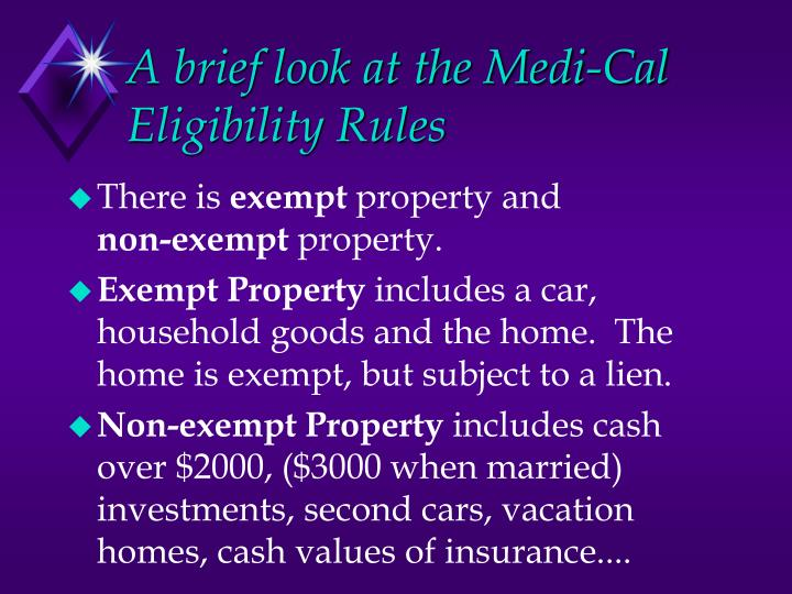 A brief look at the Medi-Cal Eligibility Rules