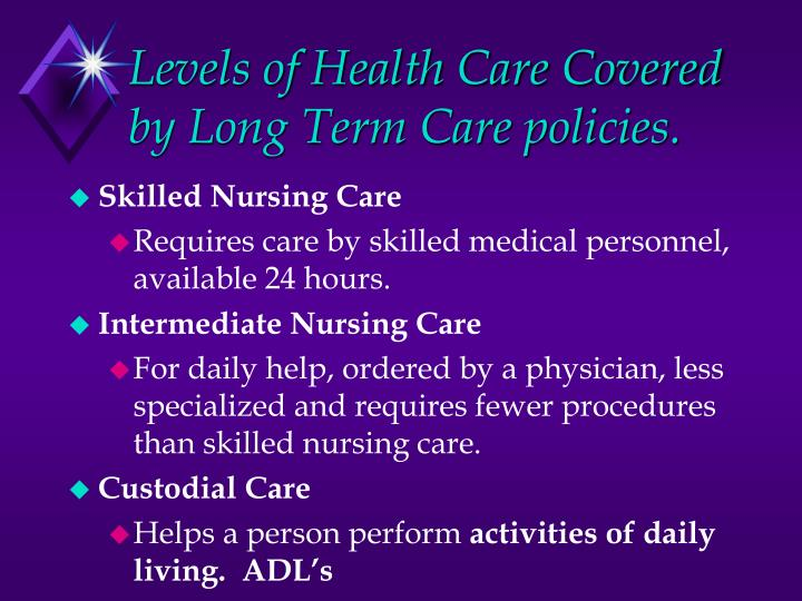 Levels of Health Care Covered by Long Term Care policies.