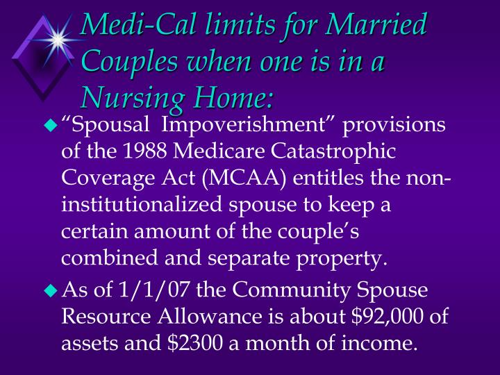 Medi-Cal limits for Married Couples when one is in a Nursing Home: