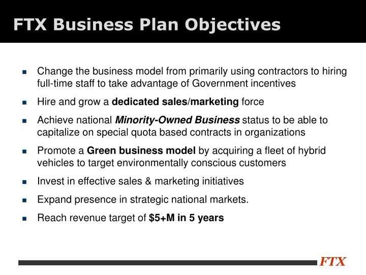FTX Business Plan Objectives