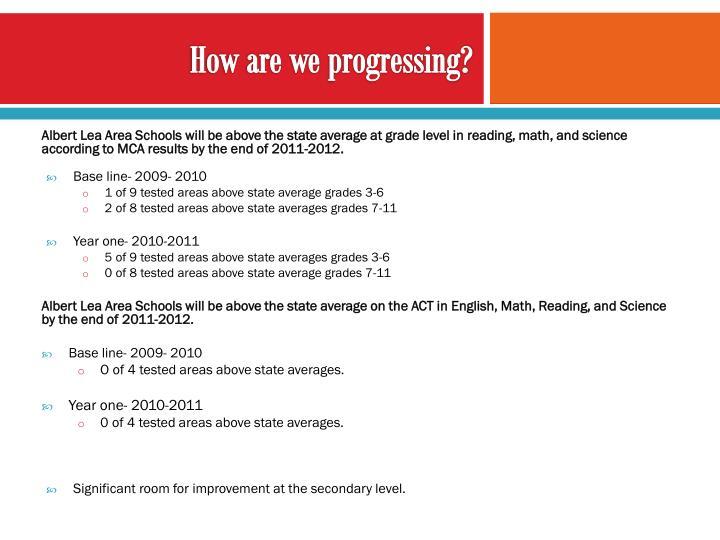 How are we progressing?