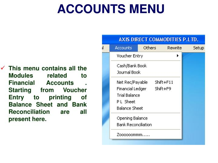ACCOUNTS MENU