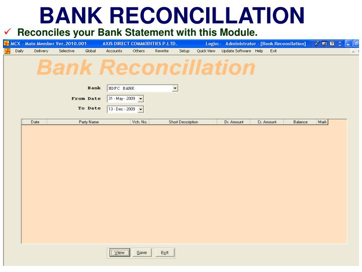 BANK RECONCILLATION