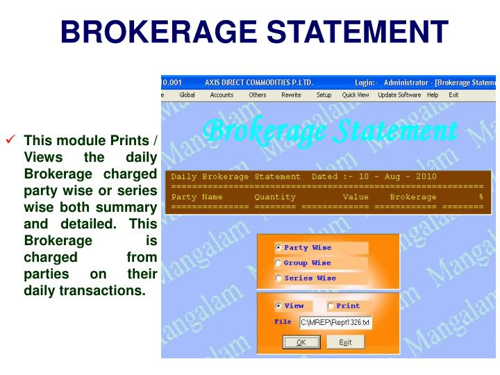 BROKERAGE STATEMENT