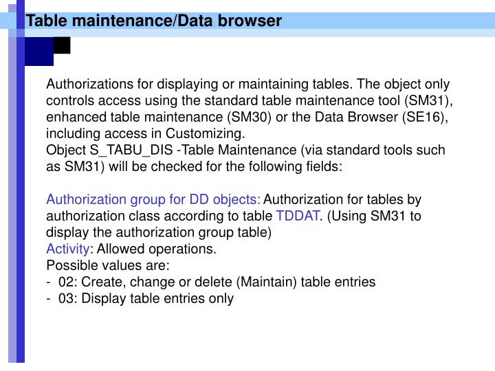 Table maintenance/Data browser