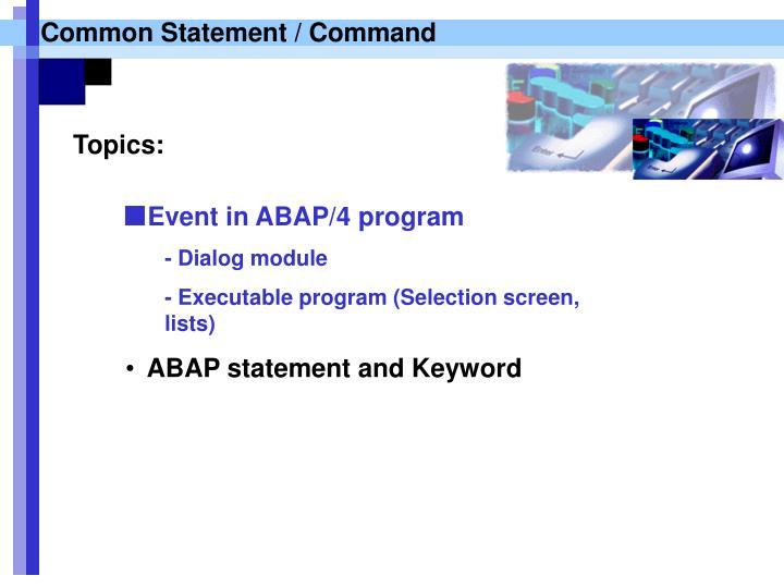 Common Statement / Command
