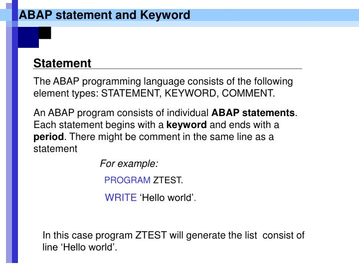 ABAP statement and Keyword