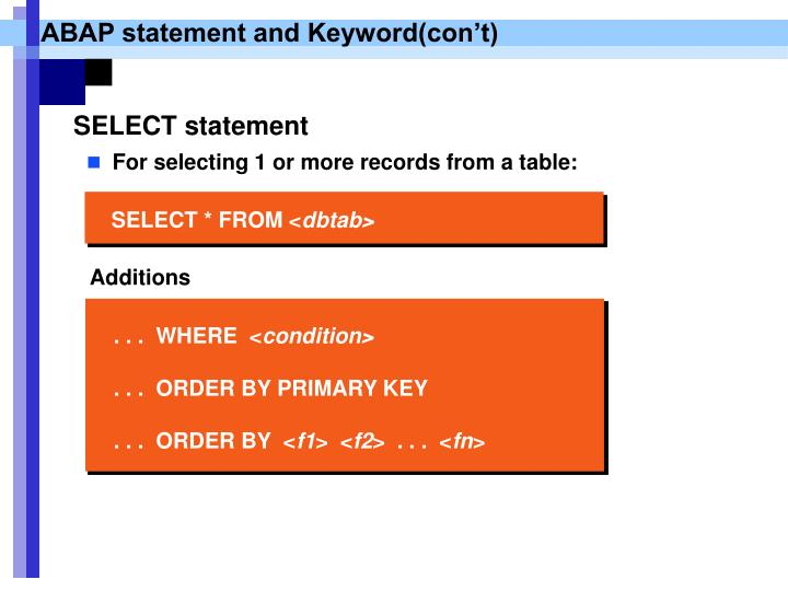 For selecting 1 or more records from a table: