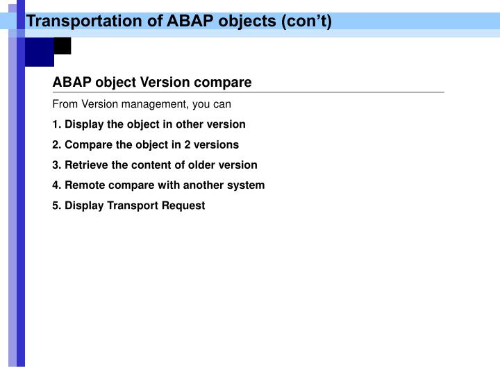 Transportation of ABAP objects (con't)
