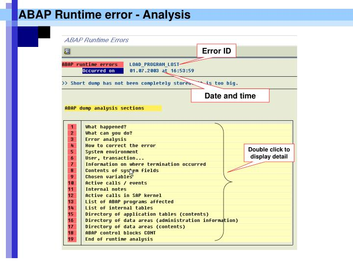 ABAP Runtime error - Analysis