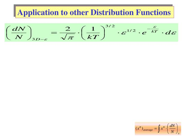 Application to other Distribution Functions