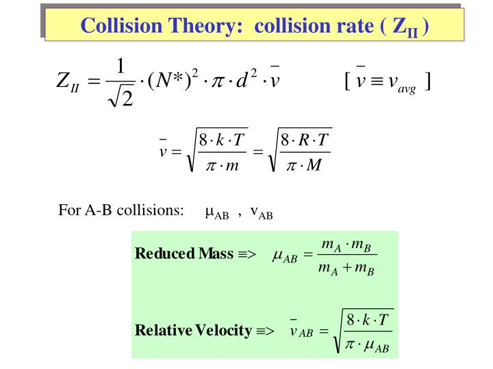 Collision Theory:  collision rate ( Z