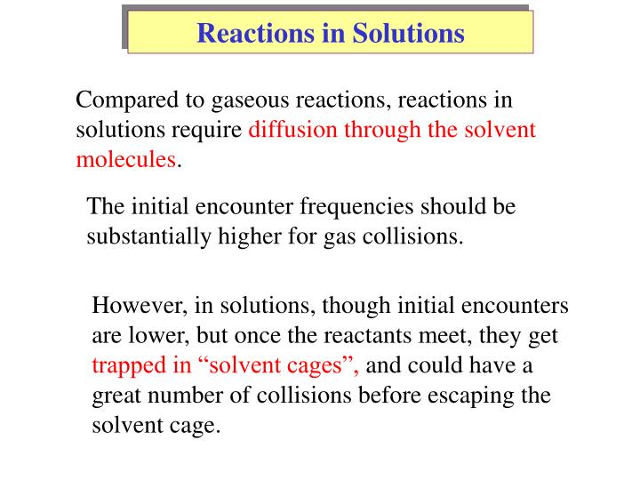 Reactions in Solutions