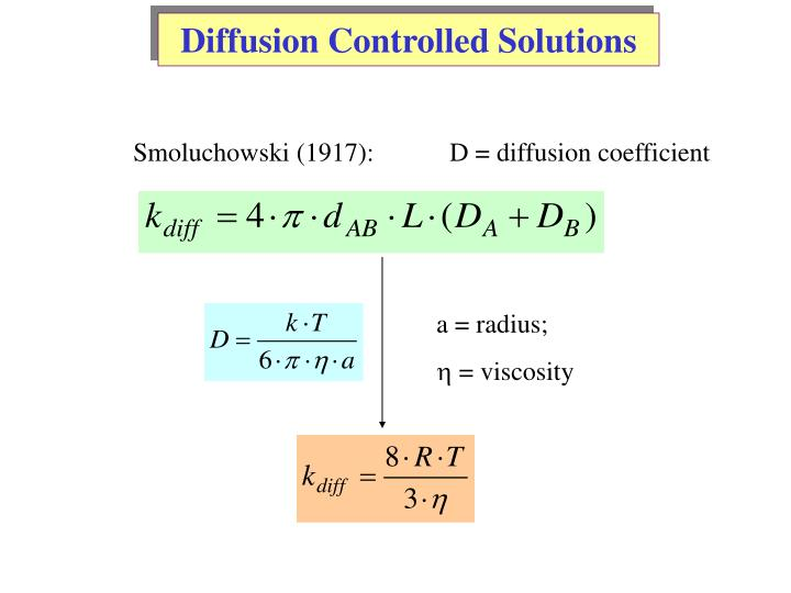 Diffusion Controlled Solutions