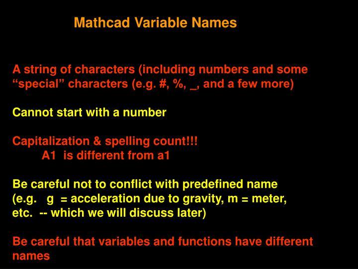 Mathcad Variable Names
