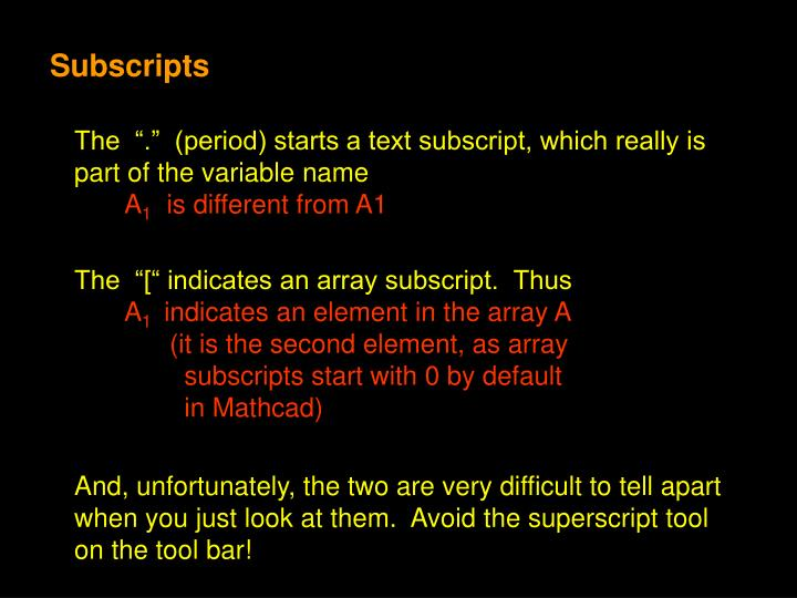 Subscripts