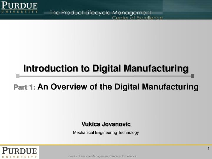 introduction to digital manufacturing n.
