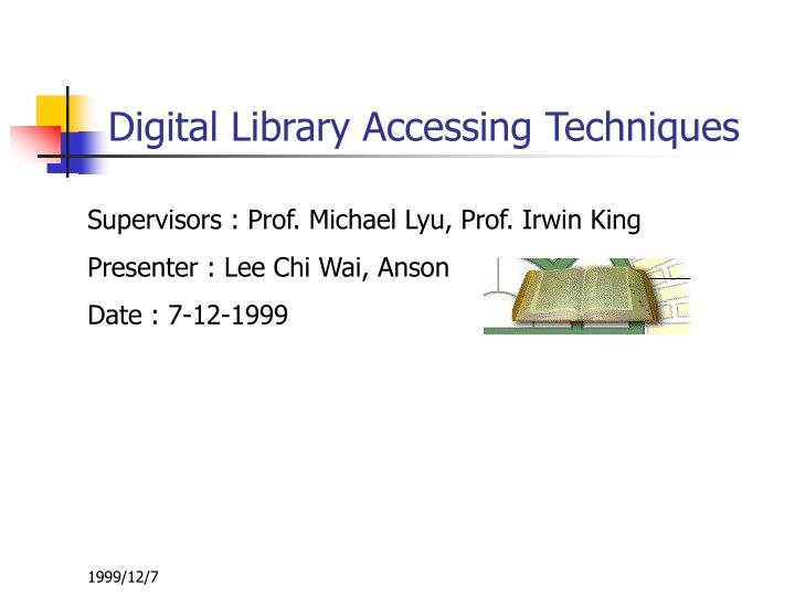 Digital library accessing techniques