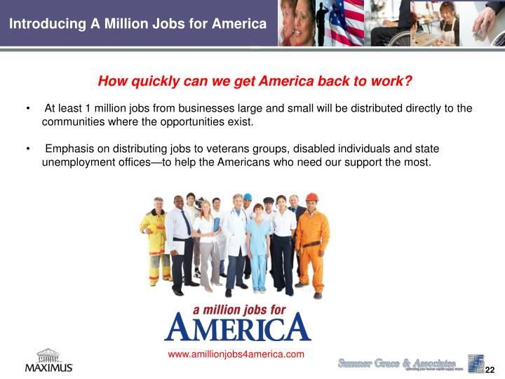 Introducing A Million Jobs for America