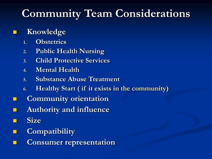 Community Team Considerations