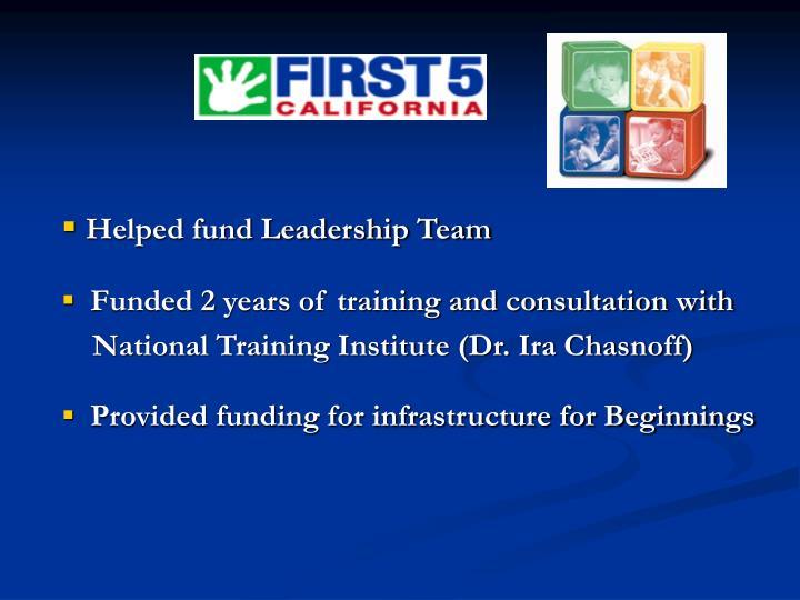 Helped fund Leadership Team