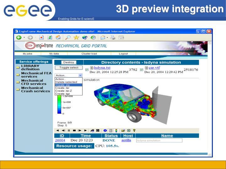 3D preview integration