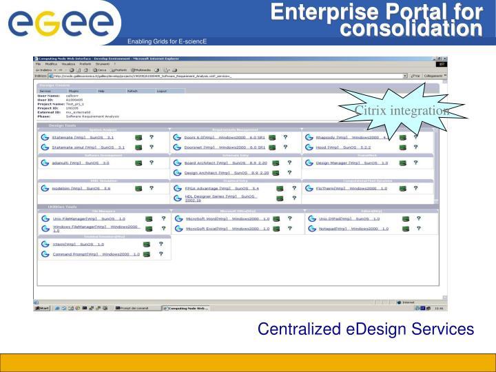 Enterprise Portal for consolidation