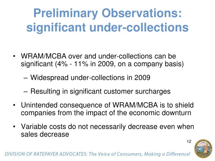 Preliminary Observations: significant under-collections