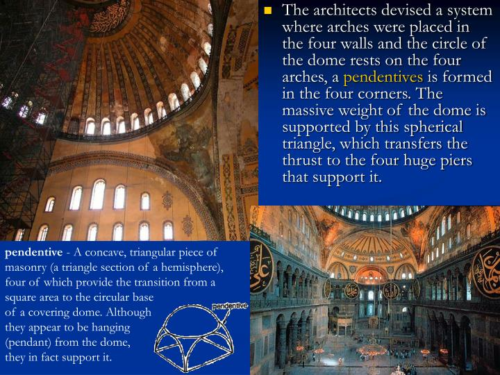 The architects devised a system where arches were placed in the four walls and the circle of the dome rests on the four arches, a