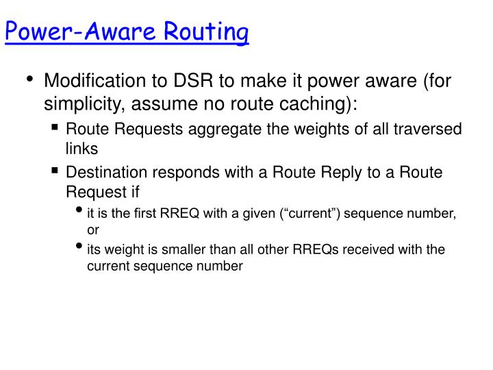 Power-Aware Routing
