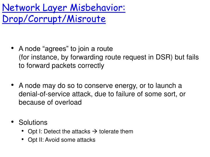 Network Layer Misbehavior: Drop/Corrupt/Misroute