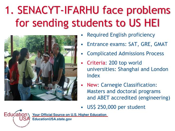 1. SENACYT-IFARHU face problems for sending students to US HEI