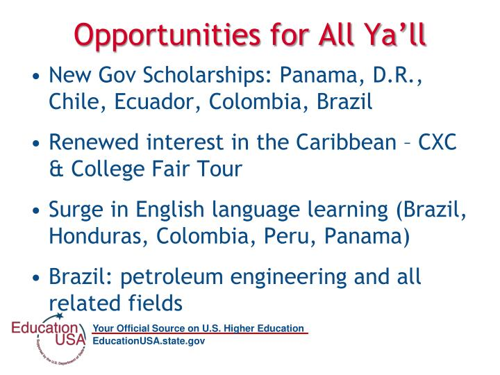 Opportunities for All Ya'll