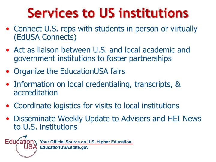 Services to US institutions